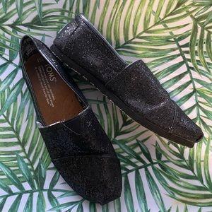 Toms Girls Black Glitter Slip Ons